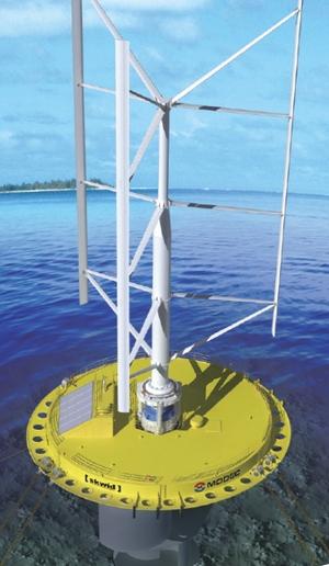 風力と「潮力」を1台で兼ねる発電装置